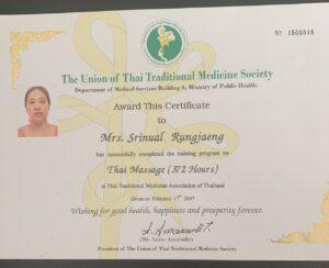 Eksamensbevis for vores massør med speciale i Thai Massage.